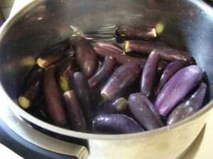 Baby brinjals, also known as eggplant.