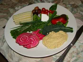 Chickpea hummus makes a salad.