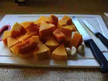 The chopped butternut squash for our easy soup recipes; rich in beta-carotenes.