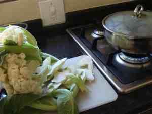 Cauliflower slice stalk