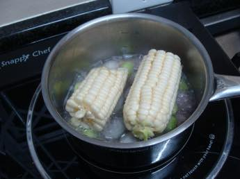 Corn and beans in a pot