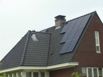 East facing solar panels on a house in Holland.