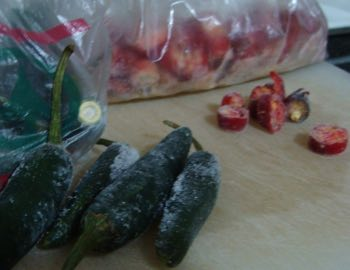 Freezing chillies