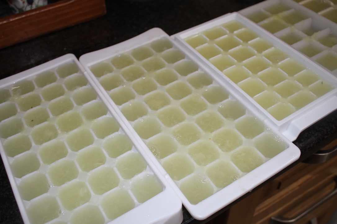Freezing lime juice.