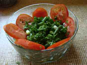 A green bean and tomato salad.