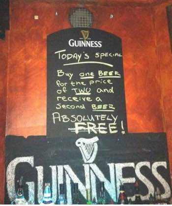 Have a free Guinness with your green salad.