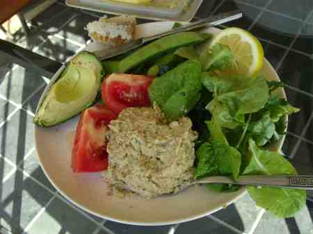 Hummus on a mixed salad to reduce the glycemic response to legumes.
