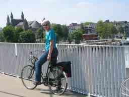 Bernie's wife crossing the Maas