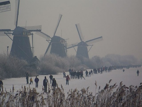 Skating on the ice at Kinderdijk in midwinter is a great favourite amongst the Dutch.