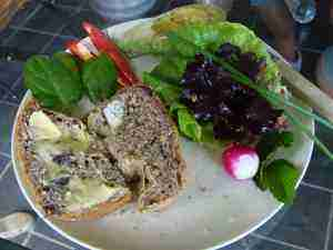 Olive bread and salad