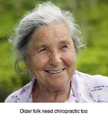 Elderly woman who probably has osteoporosis to some degree can still be treated with chiropractic.
