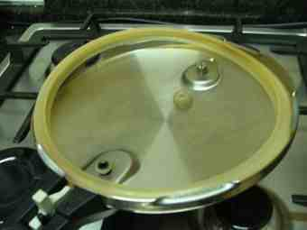 Pressure cooker lid from the inside