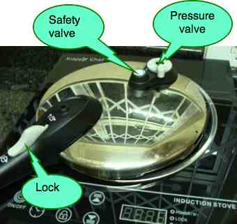 A pressure cooker lid from the outside.