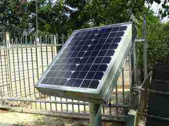 A 10W residential solar panel used to power a gate motor.