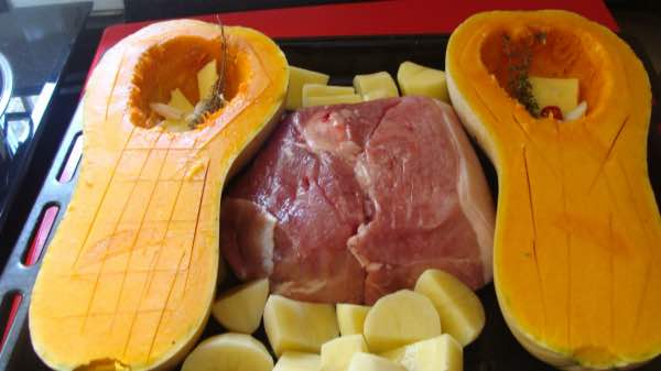 Roast butternut and pork