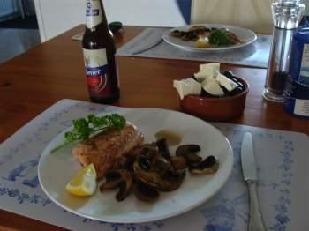 Bernard Preston's salmon mushroom dinner