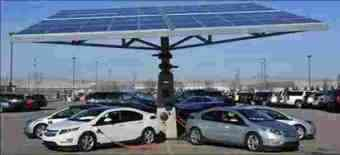 Electric vehicles being charged during the day using solar power.