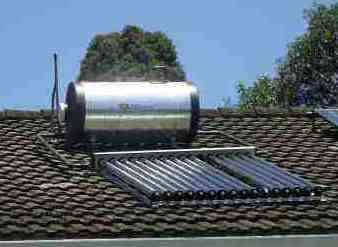 Solar tubes and hot water geyser.
