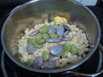 Lima beans and corn sizzling in butter