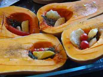 Thyme recipes include roasted butternut.