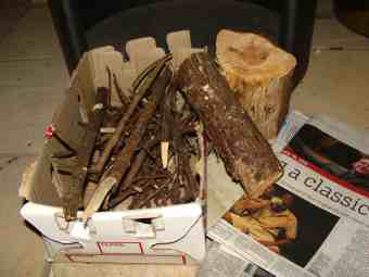 Start the woodstove with kindling and a little cardboard.