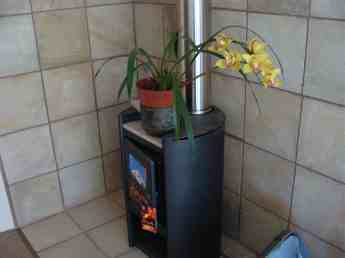 Decorating the woodstove with flowers in the summer.
