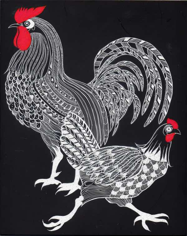 Zulu cockerel and hen by Lorraine Harrison