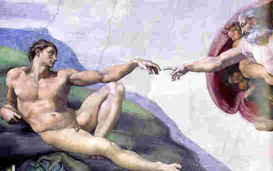 Michelangelo portraying Adam's lonely road of faith.