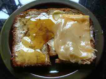 Bread, cheese and honey.