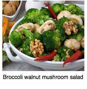 A broccoli, walnut and mushroom salad.