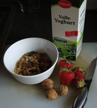 Walnuts and berries, rolled oats and full cream yoghurt make the perfect healthy breakfast menu.