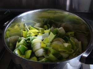 Chopped onions in this Irish potato and leek soup recipe.