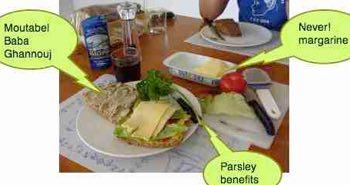 Preston lunch of moutabel baba ghannouj