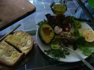 A healthy lunch has greens, the healthy fats and some protein; and, if your weight is okay, bread and butter.