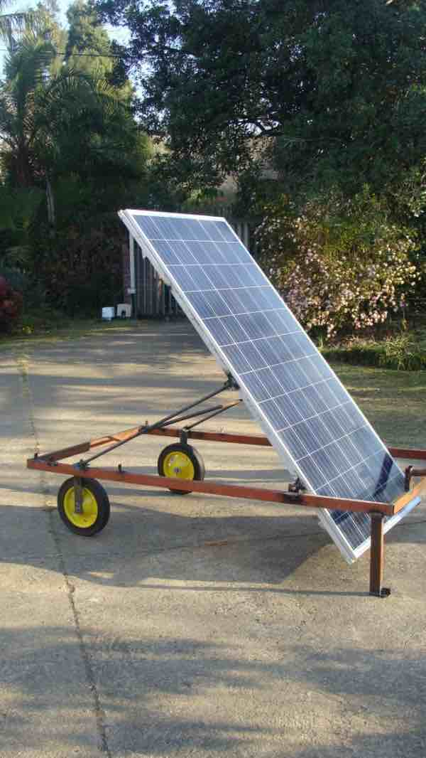 Mobile solar panel that can face east or west; or north and south for that matter in winter when the sun is low in the sky.