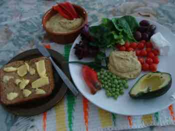 Salad with roasted butternut hummus