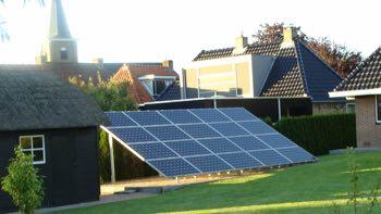 Solar panels on the ground.