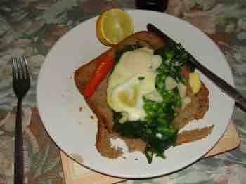 Eggs Florentine on Swiss chard is a great betaine meal.