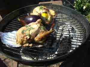 Chicken and eggplant on the grill; we call the latter brinjal, in the Indian tradition.