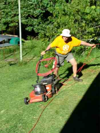 Solar electric lawnmower.